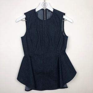 Theory Kalsing Sleeveless Denim Peplum Top